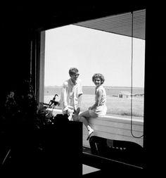 JFK and Jackie at Hyannisport, 1953.