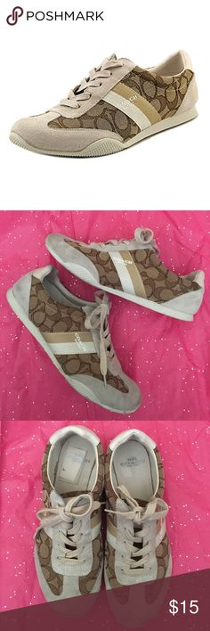 Coach Kelson Sneaker shoes suede signature C Authentic Coach Kelson Sneakers in khaki chalk combination. Perfect for everyday wear. An excellent sneaker to match all your lighter colored or navy blue clothing! Some wear on bottom and suede needs to be cleaned. Coach Shoes Sneakers