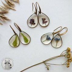 Природные украшения - Прозрачные серьги с растениями