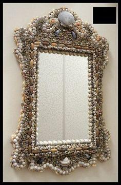 Sea Shell Art Design Mirror by jackieshells on Etsy, $120.00
