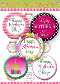 INSTANT DOWNLOAD 1 Happy Mother's Day 1' bottle cap by PatchScript, $1.75