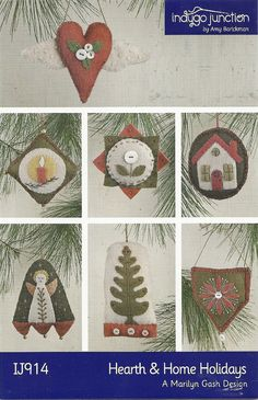 Primitive Folk Art Wool Applique Ornament Pattern: HEARTH & HOME Holidays