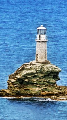 Tourlitis Lighthouse, Andros Island, Greece- by Giorgos Vintzileos Beacon Of Light, Private Pool, Mountain View, Driftwood, Most Beautiful Pictures, Lighthouse, Statue Of Liberty, Places To Visit, Island