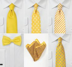 Handsome yellow ties and pocket squares for your groom and groomsmen.