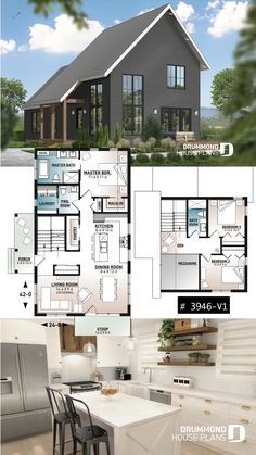 Discover the plan - Willowgate 2 from the Drummond House Plans house collection. Modern cottage house plan, 3 bedrooms, master suite on main floor, lots of natural light, mezzanine. Small Modern House Plans, Narrow House Plans, Small House Floor Plans, Small Cottage Homes, Modern Cottage, Cottage House Plans, Sims House Plans, New House Plans, Dream House Plans