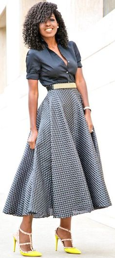 #fall #fashionistas #outfits   Button Down Shirt + Textured Swing Skirt