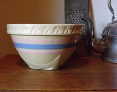 Yellow Ware Mixing Bowl  McCoy  Blue and Pink by TrilliumandFern