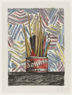 NOT This motif is based on John's lifesize bronze sculpture of a paintbrush–filled Savarin coffee can (1960). The composition was created first as a poster for a retrospective exhibition of his work, which explains its attention–getting scale. For the background, Johns used a fragment of a then–recent painting of crosshatched strokes. By showing the early sculpture and the painting together, he represented the span of his work at the time of the retrospective.