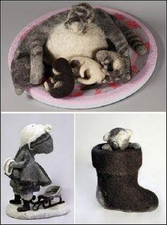 Felted sculpture by Irina Andreeva, Artist of felt, Irina Andreeva, art, Izhevsk, Moscow, textile dolls, Eve's Rib, Felting, wool of wild animals, Russia
