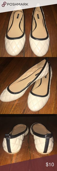 Forever21 - Quilted Ballet Flats (Black and Cream) LIKE NEW! I've never worn these Forever 21 faux leather quilted ballet flats. They are cream w/ black trim, so they will go with almost any outfit. Features include a round toe and pull-tab on the heel. Forever 21 Shoes Flats & Loafers