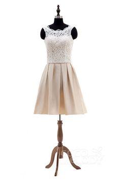 Stylish A-Line Illusion Natural Knee Length Satin Ivory/Champagne Sleeveless Open Back Wedding Dress LD4028#cocomeldoy#weddingdresses#bridalgowns#