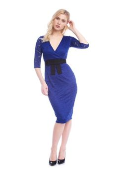 Rochie eleganta cu broderie de dantela AM-21704113 albastru -  Ama Fashion Embroidery