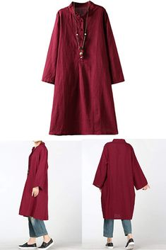 20e142970b Minibee Women s Linen Retro Frog Button Blouse Loose Tunic Dress With  Pockets