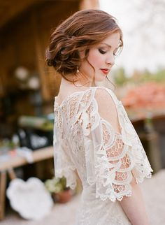 Love this hairstyle! | On SMP: http://www.stylemepretty.com/virginia-weddings/2013/11/26/claire-pettibone-shoot-at-the-market-at-grelen-from-jen-fariello | Photography: Jen Fariello