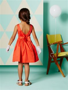 Cotton Satin Special Occasion Dress Orange