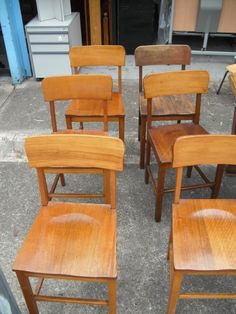 SET OF 6 SOLID TIMBER ANTIQUE VINTAGE RETRO DINING TABLE CHAIR