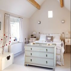 I like the idea of having the dresser at the foot of the bed ❦ Country chic
