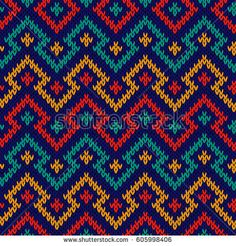 Knitting seamless geometric vector pattern in red, blue, orange and turquoise colours as a fabric texture