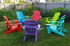 Adirondack chairs from Western red cedar painted in rainbow colors