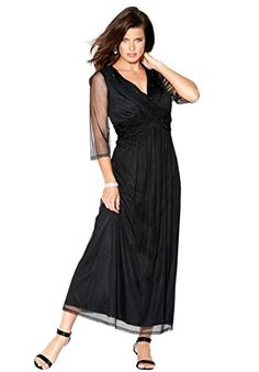 89e8d929d64 Roamans Womens Plus Size Beaded Criss Cross Dress Black22 W    You can get  more · Evening Dresses ...