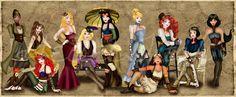 Steampunk Disney Princesses 2.0 by HelleeTitch.deviantart.com on @deviantART