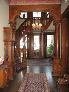 inside Gothic design; dark woods and accents, detailed trim and hand crafting                                                                                                                                                                                 More