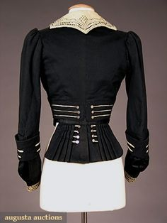 steampunkirl:  HIGH STYLED BLACK WOOL BODICE, c. 1900Augusta Auctions  Look at that popped collar!