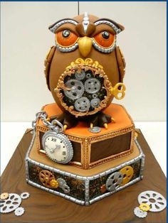 Steampunk Owl Cake