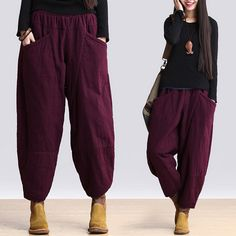 "material : coton have cotton Lined, very warm loose style Free size(fit for International M/L) Length : 85 cm/ ""Hip: 126 cm/ ""Waist: cm/ Loose Pants, Loose Sweater, Warm Weather Outfits, Plus Size Pants, Cotton Pants, Fashion Pants, Ootd Fashion, Pants Outfit, Winter Fashion"