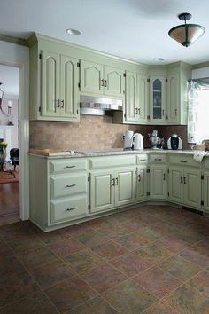 Classic 12 x 12 Slate Field Tile in Multi Chalk Paint Kitchen Cabinets, Green Kitchen Cabinets, Kitchen Cabinet Remodel, Built In Cabinets, Kitchen Cabinet Doors, Kitchen Paint, Kitchen Colors, New Kitchen, Vintage Kitchen
