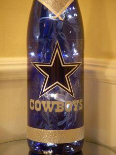 @Brandon Thomas @MaryMargaret Karaffa Dallas Cowboys Wine Bottle Lamp by EcoArtbyNancy on Etsy, $25.00