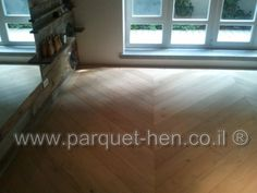Stained Oak parquet laid in Fishbone פרקט אלון בעיצוב פישבון