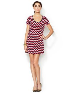 The Letter Silk Shift Dress with Piped Trim