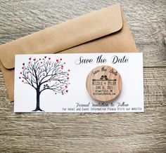 50 Custom Kissing Birds Rustic Wood Save the Date Invite Wedding Magnets with Envelope and Card Insert