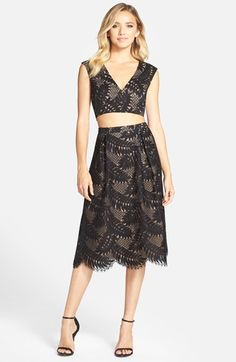 236d956803 Shop Madalynne For Out From Under Sierra Lace Wrap Bra at Urban Outfitters  today. BCBGMAXAZRIA Short Sleeve Lace Crop Top   Skirt available at   Nordstrom