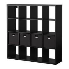 IKEA - KALLAX / TJENA, Regal mit 4 Einsätzen, schwarzbraun,