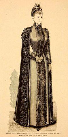 1889 Wood Engraving Fashion Clothing Victorian Ladies Cloak Coat Costume Hat | eBay