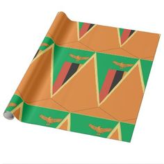 #Zambia Flag Triangle Wrapping Paper - #country gifts style diy gift ideas