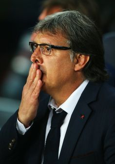 Gerardo Martino, coach of Barcelona reacts during the UEFA Champions League Quarter Final first leg match between FC Barcelona and Club Atletico de Madrid at Camp Nou on April 1, 2014 in Barcelona, Catalonia.