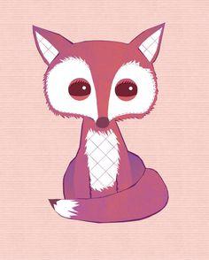 Fox Art  Cute Pink Girly Fox Art Print For by thedreamygiraffe, $18.00