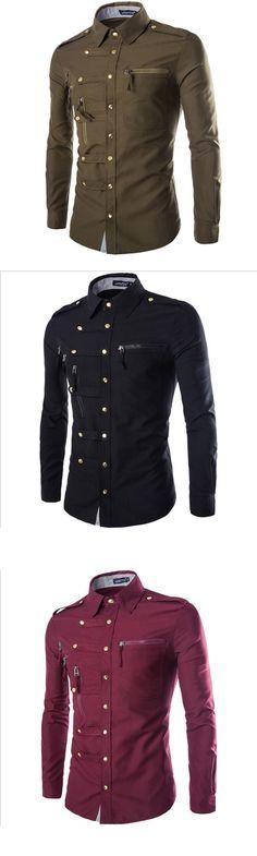 Men's Long Sleeve Shirt , Cotton Casual Pure Coat
