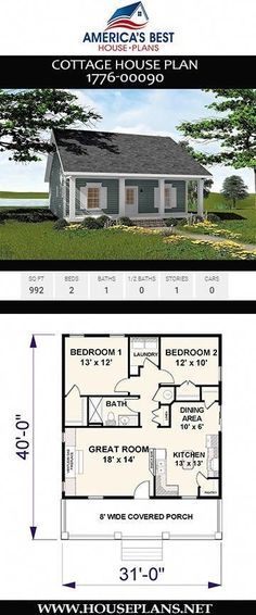 "Cottage House Plan Tiny house fans, Plan has everything you need to call it ""home sweet home."" This 992 sq. Cottage house plan offers 2 bedrooms, 1 bathroom, and an open floor concept. To see more Cottage house plans visit www. Little House Plans, Small Cottage House Plans, Small Cottage Homes, House Plans One Story, Small House Floor Plans, Craftsman House Plans, 1 Bedroom House Plans, Small House Plans Under 1000 Sq Ft, Two Bedroom Tiny House"