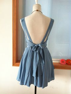 Vintage Cocktail Chiffon Knee Sundress Summer Dress Beach Dress Sleevesless Backless Open Back Prom Party Bridesmaid  Dress Bow Sash Blue. $34.99, via Etsy.