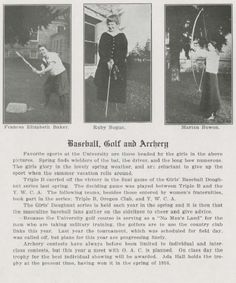 UO Women's golf, baseball, and archery 1916-17.  From the 1918 Oregana (UO yearbook).  www.CampusAttic.com
