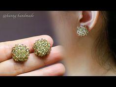 DIY charming stud earrings. How to make beaded earring - YouTube