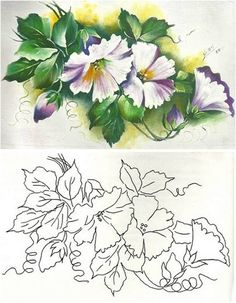 lindos                                                                                                                                                                                 Mais One Stroke Painting, Tole Painting, Fabric Painting, Flower Coloring Pages, Colouring Pages, Craft Images, Country Paintings, Painting Patterns, Pictures To Paint