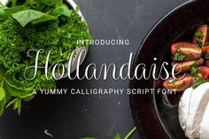 Introducing Hollandaise - a calligraphy script font! Inspired by melt in the mouth foodie layouts, this flowing typeface is clean and stylish. Use it to add a Melting In The Mouth, Christmas Fonts, Handwritten Script Font, Font Setting, Chalkboard, Lettering, Ethnic Recipes, Heart, Brave
