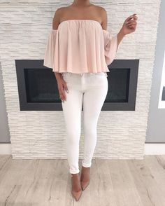 dd2fe51daccb8 Blush Off Shoulder Top + White Jeans ✓ All White Outfit