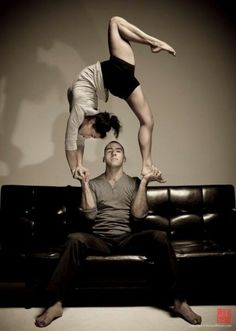 | Acrobatic Dance Couple | Oh, you know just sitting here stunting while watching TV, no bigee