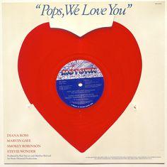 Pops, We Love You Heart Shaped Red Vinyl Record Single, Motown - M9-1455F, Soul, Funk, 1979, Original Pressing